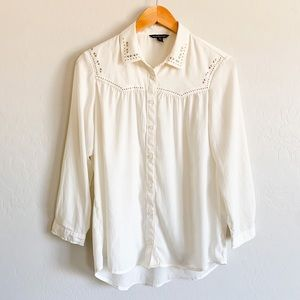 American Eagle Off White Western Studded Blouse